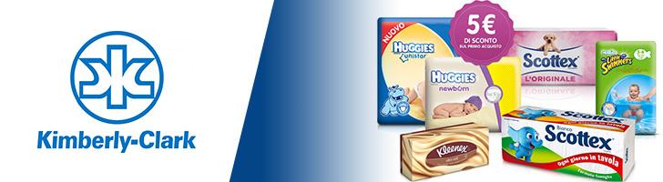 Sconto 5€ sui prodotti Huggies, Scottex, Kleenex...