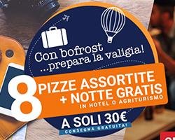 Bofrost: 8 pizze + patatine + voucher viaggio a 30€