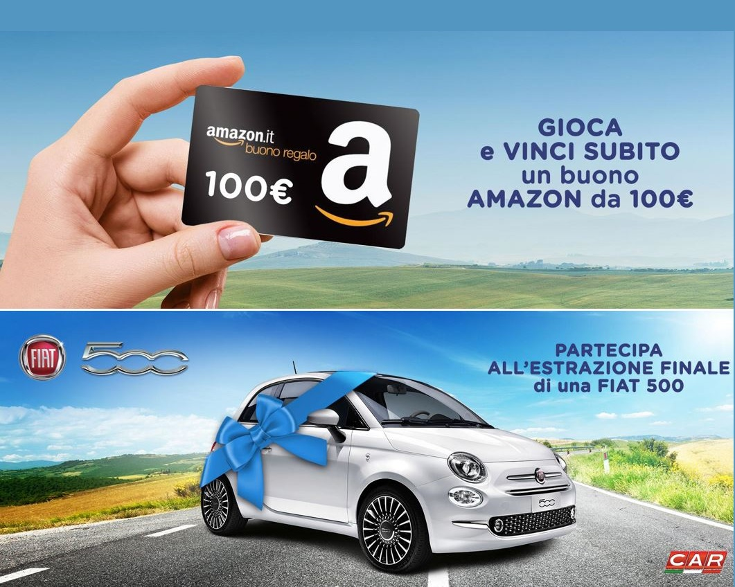 Vinci una Fiat 500 o un buono Amazon da €100!