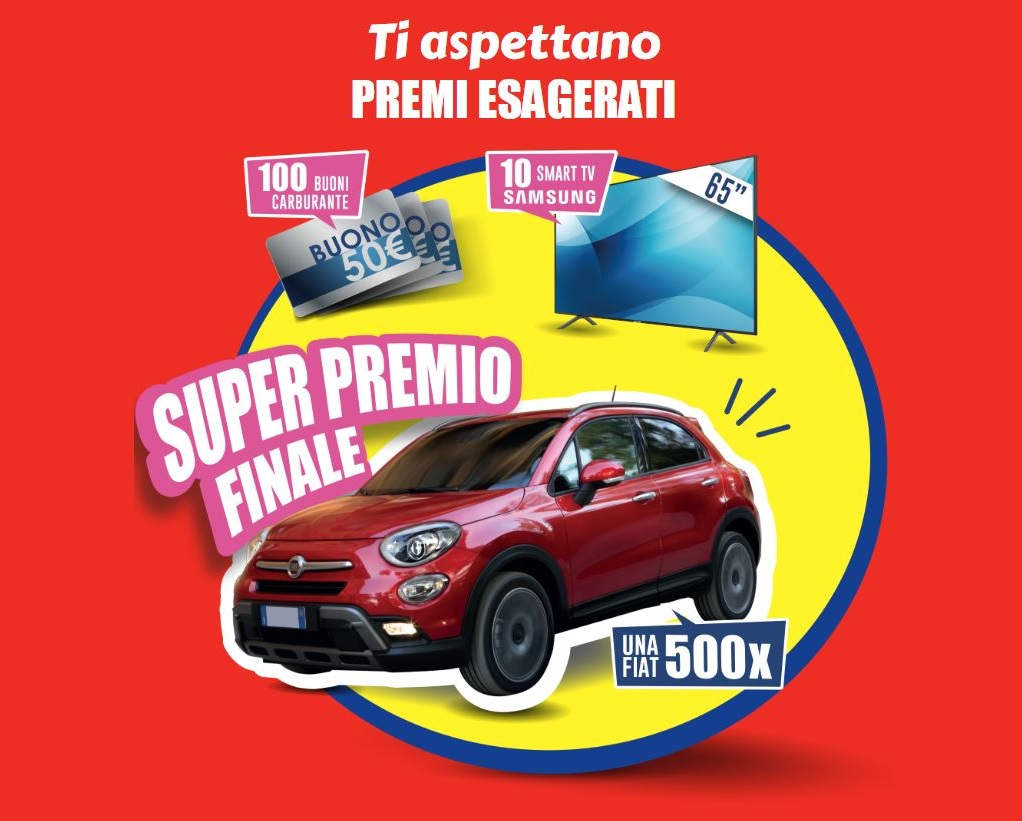 Vinci Fiat 500X, 100 Buoni Carburante e 10 Smart TV Samsung!